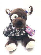 "Build A Bear Brown Puppy Dog 10"" Plush Hoodie Earbuds Radio iPod"
