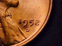 1952-D/D RPM LINCOLN WHEAT CENT W/CROOKED D- BU RED-GREAT VARIETY COIN!-AA393XXX