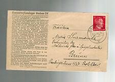 1943 Germany Dachau Concentration Camp Cover to Brunn BM KZ Josef Bila