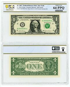 2017 FEDERAL RESERVE NOTE $1 NEW YORK PCGS CHOICE UNC 64 PPQ E31