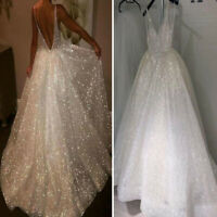 Women V Neck Evening Party Ball Prom Gown Backless Cocktail Wedding Long Dress
