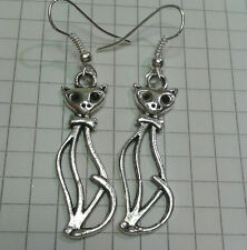 Earrings Silver Plated Hooks +Pouch Tibetan Silver Fab[3.5X1C ]Tall Cats Hollow