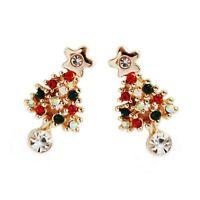 Chic Rhinestone Gift Cute Pierced 1 Pair Fashion Earrings Women Christmas Tree