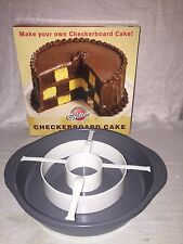 """Wilton Checkerboard 4 pc Cake Pan Set # 9961 Never Used 3 - 9.5"""" Pans"""