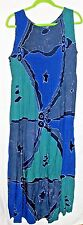 CARIBBEAN Blue Green Purple Maxi Boho Tunic Dress sz XL 18/20 NWT Stretch Top