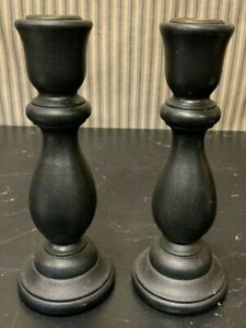 Vintage Hand Carved Black Paint Wood Taper Candle 2 Holders Farmhouse Primitive