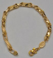"18k Solid Yellow Gold Twisted Fancy Link Bracelet 9.25 "" 15.9 Grams 5.8-6.8 mm"