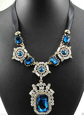 "Blue & Clear Crystals Necklace Gold tone 18"" + 2""   Black Ribbon FREE SHIP"
