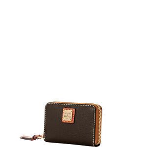 Dooney & Bourke Pebble Grain Large Zip Around Credit Card Case Wallet chocolate