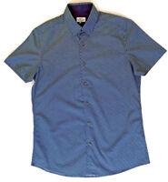 NEXT Mens Blue UK Size Medium Diamond Pattern Short Sleeved Shirt Holiday NWOT