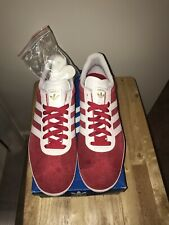 Adidas GAZELLE Red/White Suede Lace Up Low Top Shoes Men's Size 11