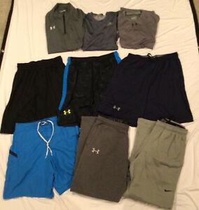 Lot Of 9 Men's Tshirts Tech Shirts Pullover Shorts Sz L Under Armour Nike