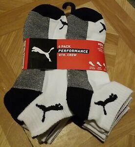 Puma Quarter Socks Performance Cushioned 6 Pack Men's 6-12 White Brand New