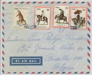 LM85732 Peru air mail to Brussels good cover used