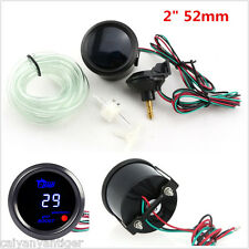 "12V 2"" 52mm Black Shell Car Digital Blue LED Vacuum PSI Turbo Boost Gauge Meter"