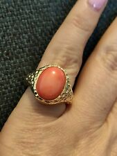 5cts Natural salmon pink coral Ring Solitaire 14k Gold Over Sterling Silver