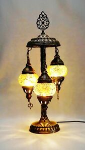 Turkish Moroccan Mosaic Floor Lamp Table Desk Lamp 3 Crushed Glass Globe 55cm