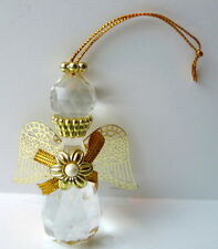 Angel Ornament crystal clear with Gold Wings and adornments
