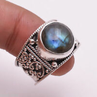 Flashy Blue Labradorite 925 Solid Sterling Silver Handmade Ring Size F to Z1/2
