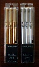 2 Packs, Cynthia Rowley Retractable Ballpoint Pens (3) Gold & (3) Silver, Black