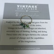 """ALEX AND ANI """"GREEN CRYSTALS INFUSION ANTIQUE EXPANDABLE RING. NEW. RARE RETIRED"""