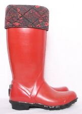 Bogs Alex II Red Quilted Paisley Print Foldover Collar Garden Boot Women's US 6