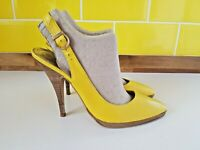 DUNE Yellow Leather Slingback Stiletto High Heel Shoes Size 6 (39) Pointed VGC