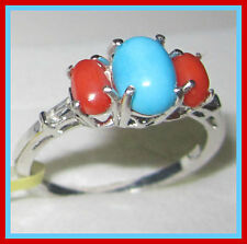 Sleeping Beauty Turquoise Mediterranean Coral White Topaz Ring SS 925 sz 6 9