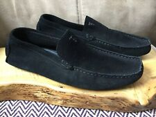 PASTELLE Chaussures Size 41 Black Suede Leather Driving Moccasin Shoes EUC!