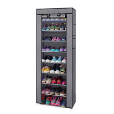 10 Layer 9 Grid Shoe Rack Shelf Storage Closet Organizer Cabinet Portable Gray
