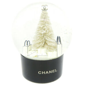 CHANEL Vintage CC Logos Tree Motif Snow Dome Object Novelty Authentic AK25520g