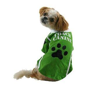Coach Canine Dog Costume Green Football Pet Tee Halloween T-Shirt Medium - New!