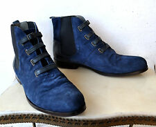 "Ksubi Navy Blue Suede ""Kiko 4"" Boots Sz 45 As New! Unworn Rare Sold Out! FW 2011"