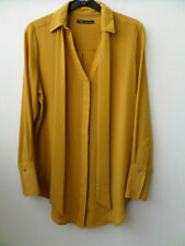 M&S Collection Smart Evening Work Sparkly Mustard Yellow Blouse Top Size UK 12