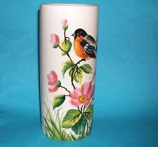 Italian Art Pottery - Attractive Tall Cylindrical Bird & Flower Decorated Vase.