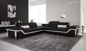Modern Large LEATHER SOFA Corner Suite NEW RRP £5999 Black  & white