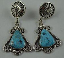 Native American Navajo Indian Jewelry SS Natural Birds Eye Twist Wire Earrings