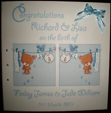 CONGRATULATIONS ON THE BIRTH OF TWINS HANDMADE PERSONALISED BABY BOYS CARD