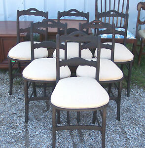 Set of 6 Walnut Dinette Chairs / Sidechairs-beige moire  (DC60)