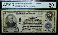 1902 PB $5 NATIONAL BANK NOTE ✪ CITIZENS NB&TC ENGLEWOOD✪PMG 20 NJ 4365◢TRUSTED◣