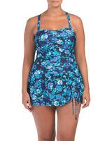 NWT $128 SEEKERS Australia Women Swimwear Swim One Piece Tummy Blue 18W 20W