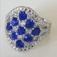 Natural Gemstone Tanzanite Ring 925 Sterling Silver Wedding Women's Jewelry