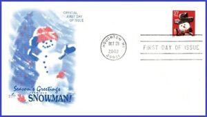 USA3 #3688 U/A ARTCRAFT FDC   Snowman Red Plaid Scarf