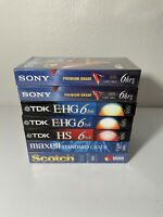 Lot of 7 Blank VHS Video Tapes - New & Sealed - Maxwell TDK Sony Scotch