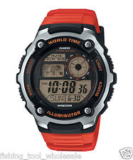 AE-2100W-4A Red Casio Men's Watches Sport Stopwatch Resin Band Brand-New