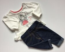 Newborn Baby Girls White Early Days Fairy Top And Blue Nutmeg Bottom Outfit Set