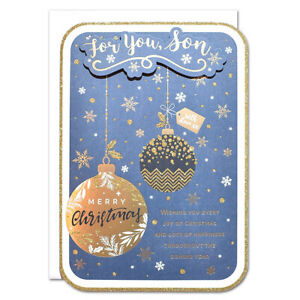 SON CHRISTMAS CARD ~ LARGE SIZE QUALITY CARD ~ GOLD BAUBLE DESIGN NICE VERSE