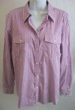 NEW RALPH LAUREN Sz L Purple 100% Cotton Button Front Long Sleeve Shirt NWOT