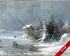 WINTER BLIZZARD SNOW STORM FROZEN LANDSCAPE SCENE PAINTING ART REAL CANVAS PRINT