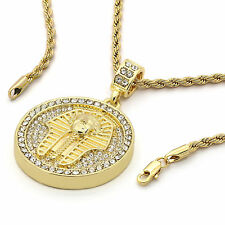 Mens 14k Yellow Gold Plated 24in Round Pharaoh Hip Hop Rope Chain Necklace 4 MM